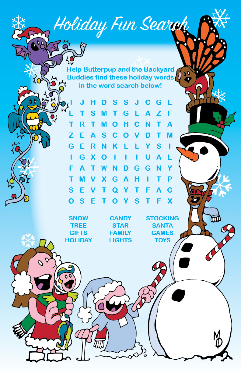 Butterpup and Friends Holiday Word Search
